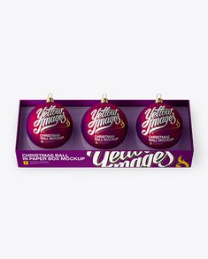Three Matte Purple Christmas Balls in Paper Box Mockup (High-Angle Shot) (Preview)