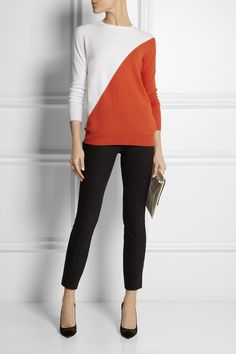 Tomas Maier|Color-block cashmere sweater|The Row | Masha stretch-crepe skinny pants | Gianvito Rossi | Suede and mesh pumps | Stella McCartney | Faux leather clutch | Etro | Gold-plated paisley ring | Maiyet | Butterfly gold-plated ring