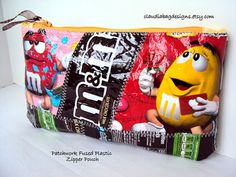 Love me some M .... Fused Plastic Zipper Pouch Makeup Bag  by ClaudiaBagDesigns, SOLD