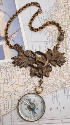 Antique French Brass Compass Brass Anchor Hardware Plate Agate Rope Chain Statement Necklace