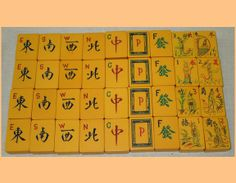 Vintage Mah Jongg tiles: Winds, Dragons, Flowers(all People)