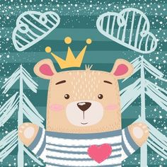Cute princess teddy bear vector image on VectorStock