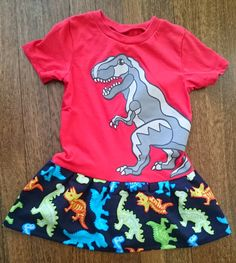 Red and Blue Toddler Girls T-rex tyrannosaurus Dinosaur T-shirt Party Dress - Size 4t or 5t