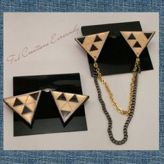 Cute and edgy! Unique one-of-a-kind handmade wooden collar clip/collar chain with matching stud earrings. Earrings and clips are
