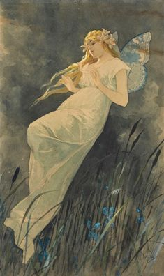 (Czech) Elf and Iris by Alphonse Mucha Art nouveau. Art Nouveau Mucha, Alphonse Mucha Art, Art And Illustration, Art Romantique, Illustrator, Academic Art, Fairy Art, Beautiful Paintings, Art Pictures
