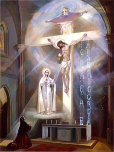 """Last Vision of Fatima"" Powerful image depicting the last vision of Fatima (June 13, 1929) as described by Lucia."