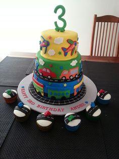 Chocolate mud cake - three tier plane truck car train cake. Gluten free car cup cakes. My nephews third birthday