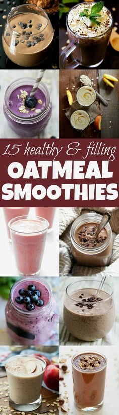 Healthy Smoothies Made with Oats Add some extra staying power and nutrition to your smoothies with these healthy oatmeal smoothie recipes!Add some extra staying power and nutrition to your smoothies with these healthy oatmeal smoothie recipes! Oatmeal Smoothies, Breakfast Smoothies, Smoothie Drinks, Healthy Smoothies, Healthy Drinks, Healthy Eating, Clean Eating, Breakfast Healthy, Breakfast Ideas