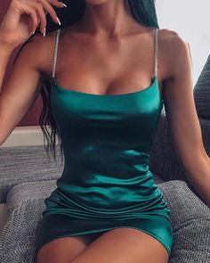 2020 Women Sexy Party Dress Brief Female Spaghetti Strap Solid Bodycon Satin Mini Dress Hoco Dresses, Pretty Dresses, Dress Outfits, Casual Outfits, Sexy Dresses, Mini Dresses, Spring Dresses, Clubbing Dresses, Night Outfits