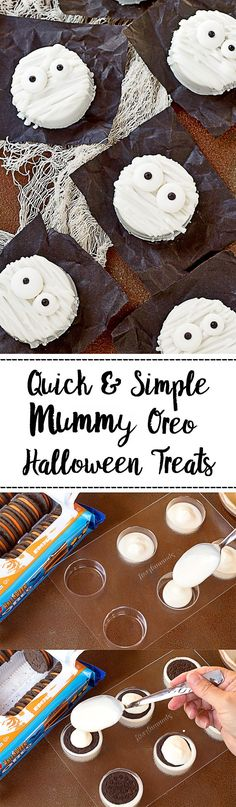 Chocolate Covered Mummy Oreo's - with Video Halloween is a time to get creative & make cute treats to give to our kids, friends and family. Chocolate covered mummy Oreo's Tutorial will be remembered. Halloween Oreos, Halloween Sweets, Halloween Baking, Halloween Chocolate, Halloween Goodies, Halloween Cupcakes, Halloween Kids, Chocolate Party, Chocolate Desserts
