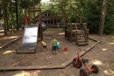 Natuurcamping Bergvlietse Bossen in het bos met trampoline, skelters etc en een mini zwembadje. Goedkoper dan de andere