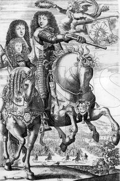 The forces of France:  Louis XIV (1638-1715), his son Louis de France, le Grand Dauphin (1661-1711), and his grandson Louis duc de Bourgogne, le Petit Dauphin (1682-1712), 1692 engraving, French school