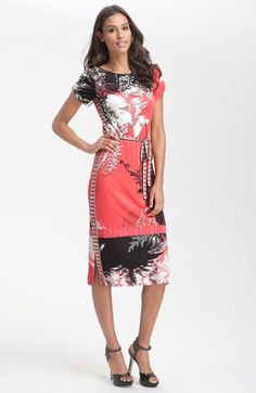 Short Sleeve Print Jersey Dress