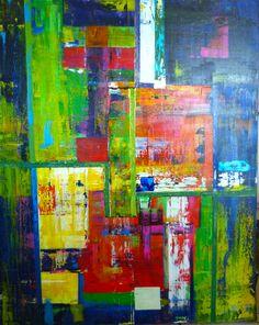 """True Colors"" Original Art by J. Williams Wiegand - 68""x44"" Canvas - Mixed Media Acrylics, Metallics, Neons, Tape & High Gloss Gel"