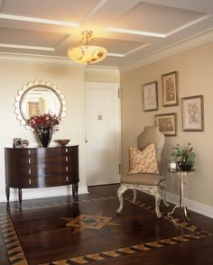 UPPER EAST SIDE RESIDENCE - Residential interior NYC - Shields Interiors coffer ceiling with a 8 ft tall room