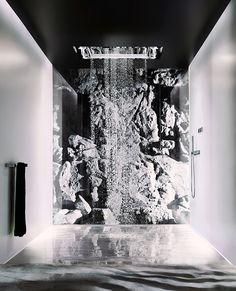 #bathroomdesign #interiordesign #bathroom #bathroomdecor Water Curtain, Waterfall Shower, Chromotherapy, Projection Screen, Luxury Shower, Water Collection, Summer Rain, Shower Systems, Rain Shower