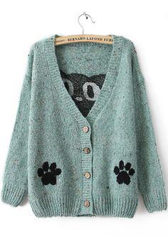 Sewing Idea - Applique Paw Print - www.SheInside.com - Shown: Blue Long Sleeve Cat Print Cardigan Sweater $33.28 (Cheap! ! !)