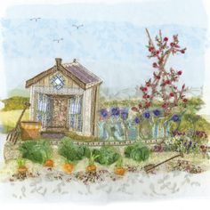 Abigail Mill -- The Allotment Free Motion Embroidery, Machine Embroidery Applique, Embroidery Ideas, Cross Stitch Embroidery, Fabric Book Covers, Allotments, Fabric Cards, Creative Textiles, Applique Ideas