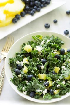 Kale Blueberry Pineapple Salad is great for lunch or a light dinner. Sweet, tart, and totally satisfying.