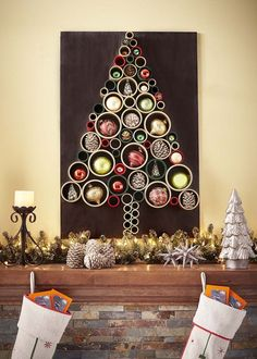 If you don't have room for a traditional Christmas tree, then consider making a wall Christmas tree! A DIY Wall Christmas Tree is a super smart way to get the… Wall Christmas Tree, Unique Christmas Trees, Alternative Christmas Tree, Modern Christmas, Christmas Home, Christmas Tree Decorations, Christmas Tree Ornaments, Christmas Crafts, Wall Decorations