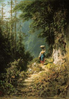 Artist : Carl Spitzweg (German , 1808 - 1885) Title : Mädchen mit Kopflast…