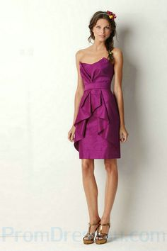 Satin Purple Knee Length Ruffles Customized Bridesmaid Dresses Online