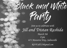 Black and white couples bridal shower party invitations Anniversary Party Invitations, Rehearsal Dinner Invitations, Anniversary Parties, Bridal Shower Invitations, Rehearsal Dinners, Casino Royale, Casino Theme Parties, Casino Party, Diy Game