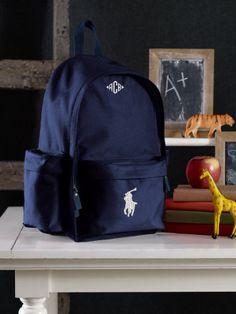 Big Pony Canvas backpack - for law school! Monogram Backpack, Canvas Backpack, New Outfits, Kids Outfits, Boys Backpacks, Ralph Lauren Style, Herschel Heritage Backpack, School Bags, Law School