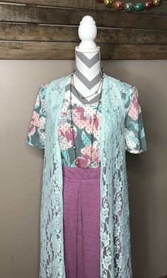 This is so beautiful for spring!! And Easter! Too bad this medium LuLaRoe Madison, Small Perfect tee and small LuLaRoe mint green lace  joy...is not my size!!! All the hearts for this outfit!!