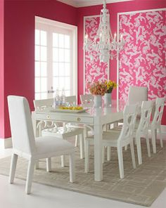 Lee Jofa Lily Pulitzer Tail Lights dragon fabric upholstered walls dining room moulding inset wallpaper