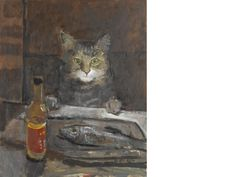 Ruskin Spear R.A. (1911-1990) Cat at a table