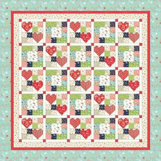 Heart to Heart was designed with Vintage Picnic by Bonnie and Camille. This PDF quilt pattern includes eight pages of step-by-step instructions