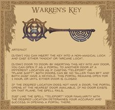 """Warren's Key: This key has two functions. 'Arcane Lock"""" can be used on any non-magic lock to lock it. It can only be unlocked with Warren's Key. """"Knock"""" can open any non-magic lock. Cursed Child Book, Harry Potter"""