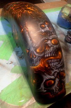 lava skulls 3 Custom Motorcycle Paint Jobs, Custom Paint Jobs, Motorcycle Art, Bike Art, Harley Davidson Images, Harley Davidson Wallpaper, Air Brush Painting, Car Painting, Car Paint Colors