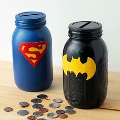 Superhero Piggy Banks. Love the simplicity of these, they look fabulous!