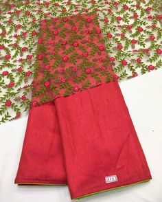 Red and green silk saree with rose Emboridery blouse piece To purchase this…
