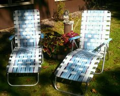 2 VTG Aluminum Folding Lawn Chaise LOUNGE Reclining Chair Webbing Patio Camping  #Unbranded