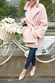 Perfume: Chloé Eau de Parfum. Denim: Frame. Sweater: ASOS. Jacket: Carven. Shoes: M. Gemi. Bike: Mosi. Sunglasses: Prada. Nails: Nails Inc.