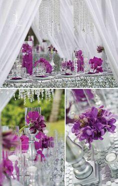 glamorous wedding_Lanikuhonua_tabletop  crystals, rhinestones, silver, paillettes