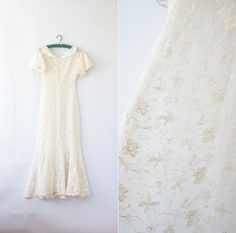 1930s dress / vintage 30s wedding gown / Floral Vine by Coralroot