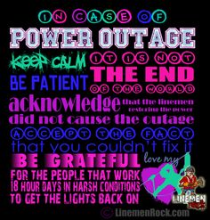 Linemen Rock - In Case of Power Outage, $20.00 (http://www.linemenrock.com/in-case-of-power-outage/)