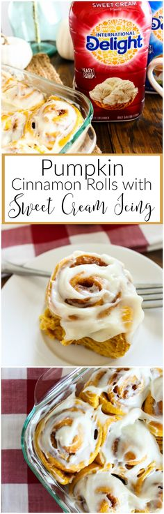 Warm, gooey pumpkin cinnamon rolls, topped with a sweet cream icing are the perfect pairing to large hot cup of coffee. Enjoy these rolls for breakfast, or as an afternoon indulgence with International Delight® Creamers and coffee.
