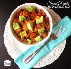 Paleo Sweet Potato Hash with Bacon and Avocado - paleocupboard.com
