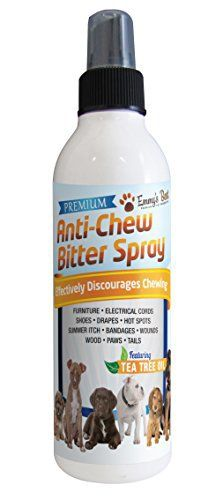 8 OZ #1 Premium Pet Chew & Scratch Deterrent - More Effective than Grannicks Bitter Apple - Discourages Destructive Chewing & Scratching - Patented Bitter Agent - All Natural Ingredients - Safe for Pets and the Environment - Effective training tool for Puppies, Dogs, Kittens and Cats - Keeps pets away - Featuring Tea Tree Oil (Melaleuca) to Promote Healing, Reduce Irritation of Hot Spots - Safe on Furniture, Plants, Floors, Electrical Cords, Shoes - 100% Satisfaction