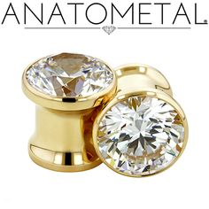 "5/16"" Single Stone Eyelets in solid 18k yellow gold with CZ gemstones"