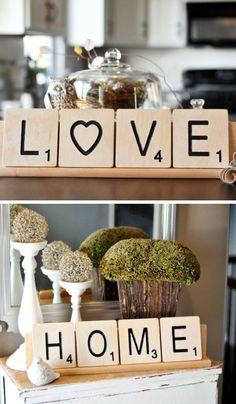 Use these oversized letter tiles to show your unique creativity and and make your friends and family smile. Hang them on the wall, display them on a shelf or set them up on one of our custom racks and really complete the look. #scrabble #love #ad #farmho