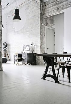 Industrial decor style is perfect for any interior. From living rooms, to bed rooms or even dining spaces. See more excellent decor tips here: http://www.pinterest.com/delightfulll/