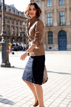 """Timeless pieces meld into a """"Made in Paris"""" look. To grab: Basic Tan Leather Jacket, Denim Skirt and Sandals."""