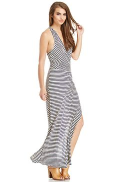 LAmade Striped Wrap Maxi Dress | DAILYLOOK