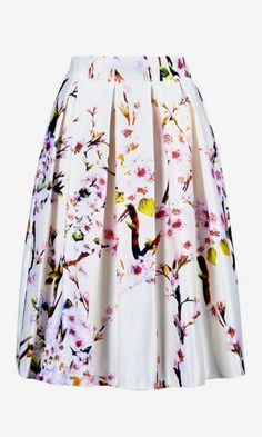 White Sakura Print High Waist Pleated Midi Skater Skirt - Choies.com